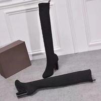 Осень зимние носки на каблуке длинные ботинки мода сексуальные трикотажные эластичные ботинки дизайнер алфавитные женские туфли леди густые высокие каблуки большой размер 36-42 US5-US11