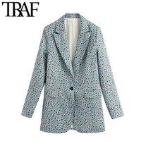 TRAF Kadınlar Moda Ofisi Çiçek Baskı Blazer Ceket Vintage Uzun Kollu Geri Vents Kadın Dış Giyim Şık Tops Wear