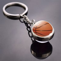 Schlüsselanhänger Glasball Schlüsselanhänger American Football Basketball Baseball Volleyball Tennis Rugby Softball Bild Glasanhänger Metall Schlüsselanhänger