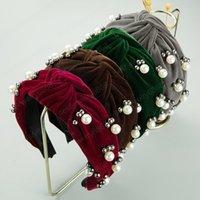 Charm Korean große Bowknot breite Kopfband für Frau elegante simulierte Perlen Fest Farbe Velvet Haarband Frauen-Partei-Haarschmuck