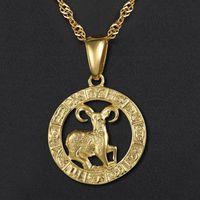 Кулон Ожерелья 12 Гороскоп для женщин Мужчины Золото Золото Овен Лео Созвездие Знак Зодиака Капля Ювелирные Изделия GPM24A