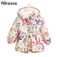 Neue Herbst Winter Kinder Jacken Für Mädchen 1-7t Graffiti Parkas Mit Kapuze Mäntel Baby Mädchen Warme Oberbekleidung Kinder Kleidung Baby Y200831