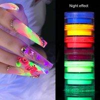06.12 Boxen Neon Phosphor Pigment Nail Powder Set Fluorescent Nagel-Funkeln-Augen-Pulver Dekoration Kunst-Staub-Pigment 1 Box