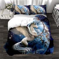 Hot Sale 3D Printed Unicorn Bedding Sets 3 Pcs Bed Suit Duvet Cover Pillowcase Starry sky Home Bedding Supplies