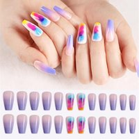24pcs / Set di colore rosa lungo Coffin falso Nail Nails europea Arcobaleno ballerina completa di punte di arte colorata di bellezza fai da te staccabile unghie finte