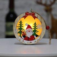 빛 KKF1934 크리스마스 나무 장식 나무 오각형 발광 산타 눈사람 사슴 펜던트 메리 크리스마스 나무 장식