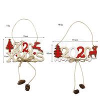 Noël 2020 Lettre Ficelle Signe Pendentif en bois d'arbre de Noël Décorations de Noël en bois créatif Ornement Décoration Fournitures RRA3589