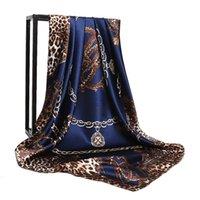 Шарфы зимний дизайнер большой квадратный шарф для женщин леопардовый печать шелковые футболки женские шали шеи и обертывания пончо