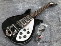 Aangepaste groothandel hoge kwaliteit elektrische gitaar 325 zwarte ric gitaar 21 frets palissander toets met vernis op 527 mm korte nek gitaar