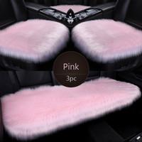 3pc pelliccia di pelliccia dei sedili dei sedili in fibra Faux Auto Sedili Auto Cuscino Lungo Peluche Inverno Sedili caldi Mats Universal per BMW, Toyota, Honda Pink