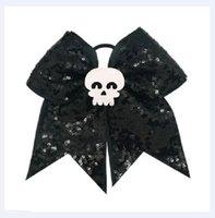 8pcs NOUVEAU de sequins Halloween Cheer Bows pour les filles du ruban d'impression Bows cheveux Bandeaux élastiques Enfants main Accessoires cheveux