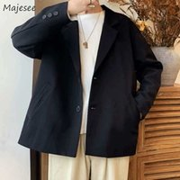 Men Blazers Solid Plus Size 3XL Loose Korean Spring Single-breasted Casual Trendy Mens Outwears Ins Simple All-match Chic Retro