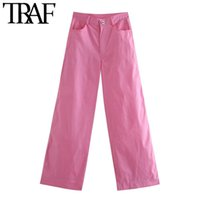 TRAF Frauen schicke Mode Seitentaschen Hose mit weitem Bein Vintage-hohe Taillen-Zipper weibliche Hose Mujer