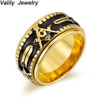 Küme Yüzükler Valy Erkek Altın Renk Spinner Freemason Yüzük Paslanmaz Çelik Rune Dönen Mason Masonik Takı Adam Hediye Için