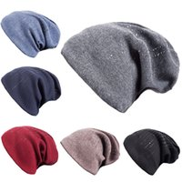 Women's Winter Hat Knitted Beanie Female Fashion Skullies Outdoor Casual velvet caps Caps Warm Cotton Hats for Rhinestones Hat