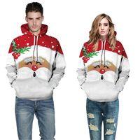Święty Mikołaj Boże Narodzenie Snowflake Printed Casual Para Nosić Z Kapturem Sweter Jesień Zima Z Długim Rękawem Pullover Kurtka Dla Mężczyzn Kobiety D9301