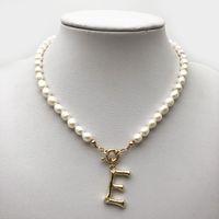 Le donne della perla dell'annata del Choker 26 Alphabet A-Z iniziale lettere Dichiarazione Gioielli collane fibbia ciondoli ciondolo perla barocca