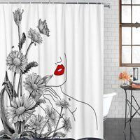 Chuveiro cortinas banheiro impermeável cortina flor margarida linha feminina lábios de tecido de tecido decoração de casa