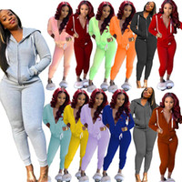 Bayan Eşofman İki 2 Parça Kıyafetler Uzun Kollu Hoodies Fermuar Hırka Pencli Pantolon Set Bayanlar Spor Streetwear Giyim Sonbahar