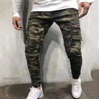Homens multi-bolso pequenos pés jeans longo camuflagem macacão novo ocasional moda jeans de alta qualidade para o sexo masculino