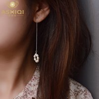 ASHIQI Real 925 Sterling Silver Long Earrings Natural Freshwater Pearl Jewelry for Women Gift
