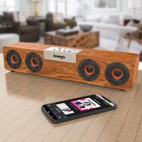 SMALODY S90 TWS inalámbrico TWS Bluetooth 20W SoundBar Subwoofer Subwoofer Ordenador Altavoz de madera Estéreo de madera Barra de sonido TF FM radio