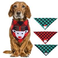 Köpek Yaka Tasmalar Polyester Ekose Elk Baskılı Bandana Pet Yıkanabilir Dekorasyon Eşarp Mendil Noel Bırak için Bibs