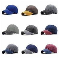 Омывается Бейсболка Чистый хлопок сплошной цвет Street Casual Snapback Cap Взрослые Дети Регулируемое Мода Солнцезащитный ВС Hat VT1602