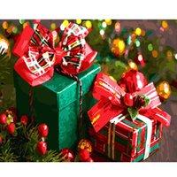 DRAWJOY encadrée Image de cadeau de Noël bricolage Peinture par numéros de Noël Décoration d'intérieur pour le salon Cadeaux uniques à la main GX22264