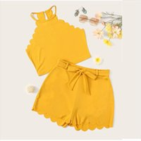 JAYCOSIN 2019 neue Sommer-Frauen Anzug Sexy Fashion Yellow Solid ärmel Halter Bluse Shorts Hot Pants Bow Schärpen Set 904246
