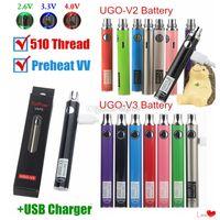 100% authentische EcPow UGO V2 V3 III Vaporizer Batterie vorheizen Variable Spannung einstellbar 510 Gewinde Vape Pen EVOD EGO Micro mit USB-Ladegerät