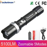 Táctica LED 5100 lúmenes XM-L T6 ampliables Lanterna LED Linterna antorcha de 18650 batería recargable o