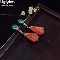 Uglyless Elegant Women Natural Agate Magnolia Earrings for Women Handmade Chalcedony Earrings Solid 925 Silver Flower Fine Jewel