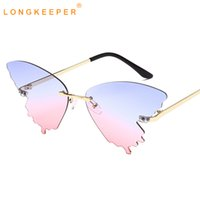 Longkeeper Sun Eye Mulheres Óculos De Sol Borboleta Feminina Lendes Cat Rimless de 2021 Óculos Azul Mujer Shades Nova Luxo Sol Pink Ehcma