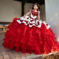 화이트와 레드 성인식 드레스와 계층 스커트 자수 볼 가운 달콤한 16 드레스 vestidos 드 XV ANOS