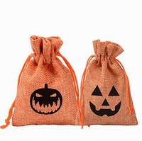 10 * 14cm di Halloween sacchetta zucca fantasma di regalo della caramella del sacchetto di immagazzinaggio Wrap iuta Sacchetto creativo per feste Oornament IIA627