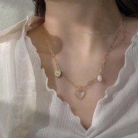 Ожерелья кулон AOMU 2021 Корея ретро натуральный жемчужный корпус сердца Choker Clavicle цепи геометрическое ожерелье для женской ювелирной вечеринки