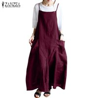 Günlük Elbiseler Yaz Maxi Elbise Zanzea 2021 kadın Spagetti Kayışı Kadın Kolsuz Sarafanlar Vestidos Femme Baggy Parti Sundress 5XL