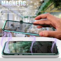 Metal Manyetik 360 Telefon Kılıfı I Telefon için 12 Mini 11 Pro Max XR XSMAX 7 8 Artı Çift Taraflı Temperli Cam Kapak iphone 11 Kılıf