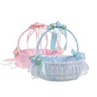 2020 Pink Девочкам Мальчикам Цветочные корзины с подушками для венчания ручной Венчание сувениры партии Supplies ленты кружева Девушка Корзины