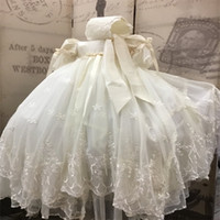 Classy Lace Appliqued Christening Dresses For Baby Girls Wit...
