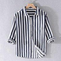 stile nuovi uomini di marca della camicia cotone camicie a righe di Suehaiwe per gli uomini di tre quarti maniche camicia da uomo casaul chemise camiseta