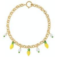 Chokers Handmade 14kt placcato oro rolo catena giallo vetro perline charms barocco acqua fresca perla accenti collane pendente per le donne