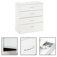 WACO 4 Schubladen Schrank, einfache Schlafzimmermöbel Kommode Organizer Turm Schublade Truhe für Flur Eingangsteine Schränke Lagerung, Holz, weiß