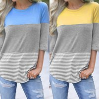 E-Baihui 2020 European and American New Hot Selling Women's Tops, Round Neck Three-quarter Sleeve Stitching T-shirt 20096