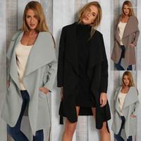 Yün Coat Kadınlar Ceketler İlkbahar ve Sonbahar Moda V Yaka Dantel Yukarı Cep Uzun Kollu Bayan Giyim Moda Kuzu