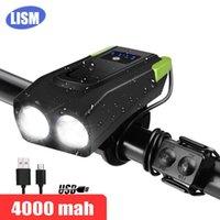 LISM 4000mAh البطارية التعريفي دراجات الجبهة ضوء USB قابلة للشحن الذكية العلوي مع القرن 800 التجويف LED الدراجة مصباح دورة