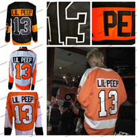 Star Fashion Personalizado Lil Peep # 13 Philadelphia Flyers Mens Hockey Jerseys melhor qualidade costurado Nome Número Preto Laranja Branco S-XXXL