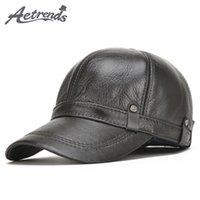 Gorras de bola [Aetrends] 2021 Hombres de béisbol de cuero 100% de invierno hombres sombreros cálidos con orejas Flap Z-5304