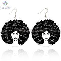 SOMESOOR Noir Cheveux naturels LOCS Créoles africaine Goutte en bois avec les deux côtés forts imagées Imprimer Conception Cadeaux Femmes